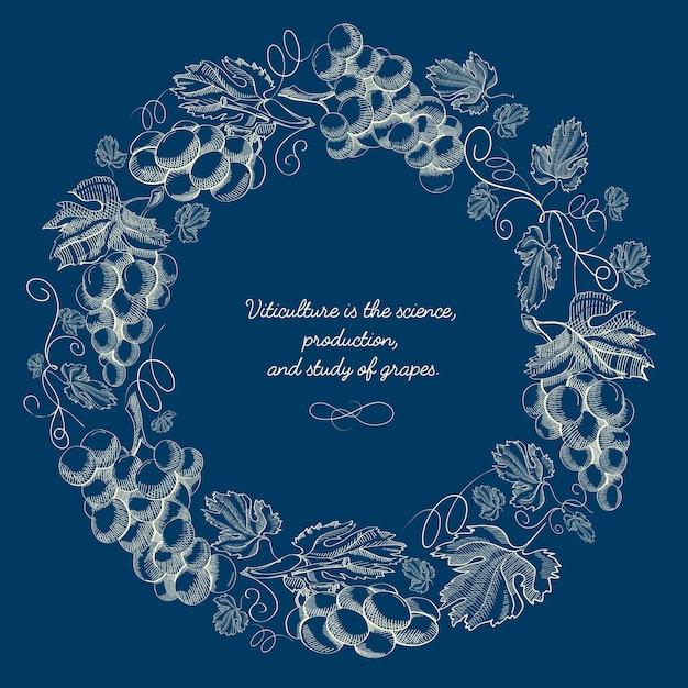 Manifesto di corona rotonda naturale incisione astratta con ramoscelli di uva e iscrizione sull'azzurro Vettore gratuito