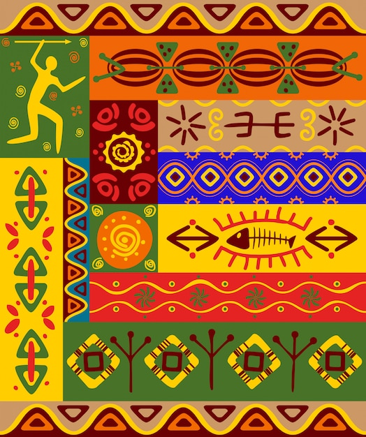Абстрактные этнические узоры и орнаменты для дизайна Premium векторы