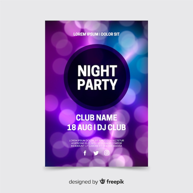 Abstract event template with bokeh lights Free Vector