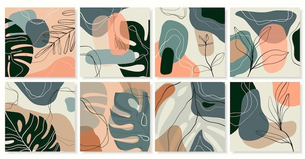 Абстрактная экзотическая коллекция модного фона Premium векторы