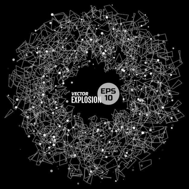 Abstract explosion consists of dots and geometric shape. design element for science, technological publication. Premium Vector