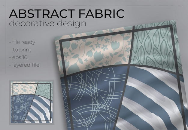 Abstract fabric decorative design with realistic mock up for printing production. hijab , scarf , pi