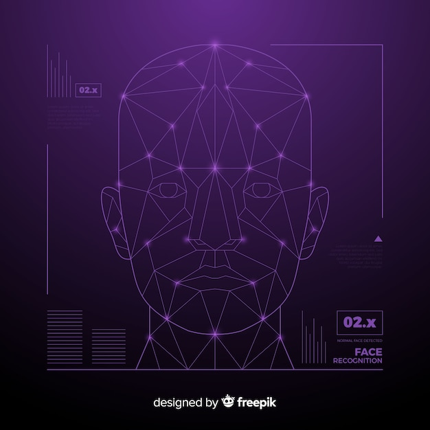 Abstract face recognition futuristic technology Free Vector