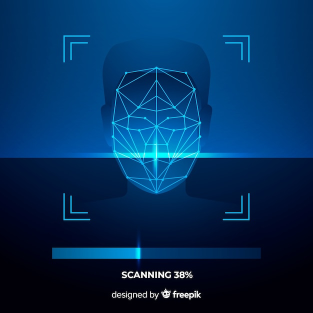 Abstract face recognition in progress Free Vector