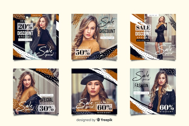 Abstract fashion sale instagram post collection Free Vector