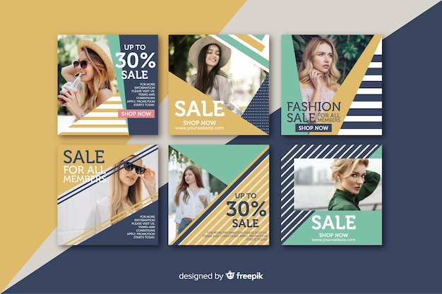 Abstract fashion sale instagram post set Free Vector