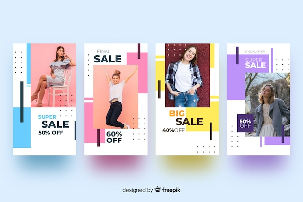 Abstract fashion sale instagram stories Free Vector