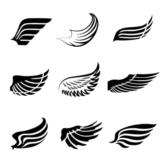 Abstract feather wings icons set Free Vector