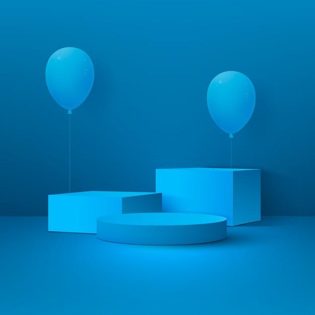 Абстрактный праздничный фон с подиумом, геометрическими фигурами и воздушными шарами. Premium векторы