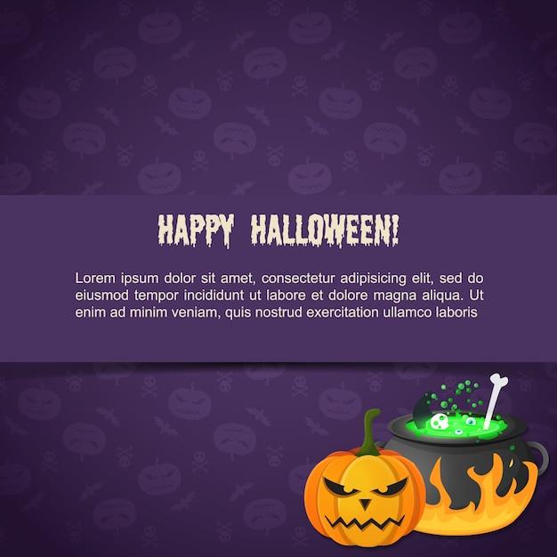 Modello festivo astratto di halloween con la pozione diabolica della zucca del testo che bolle nel calderone Vettore gratuito