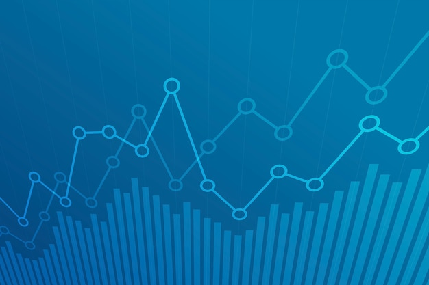 Abstract financial chart with uptrend line graph Premium Vector