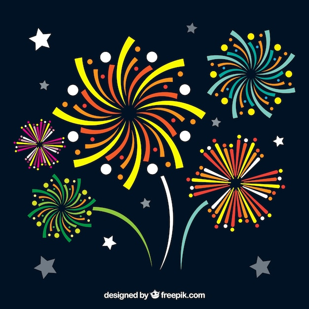 Abstract fireworks collection Free Vector