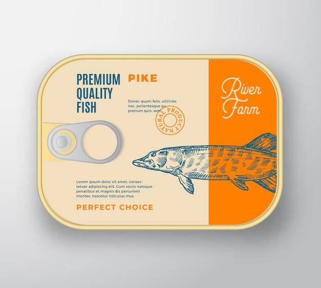 Contenitore in alluminio pesce astratto con coperchio etichetta. confezione in scatola premium retrò. Vettore gratuito