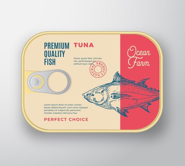 ラベルカバー付きの抽象的な魚アルミコンテナー。レトロなプレミアム缶詰。 Premiumベクター
