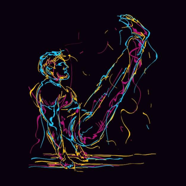 Abstract fitness man doing v sit illustration Premium Vector