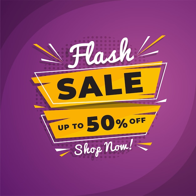 Abstract flash sale promotion banner Premium Vector