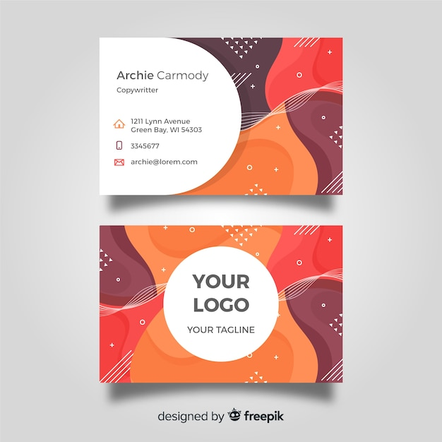 Abstract flat business card template Free Vector