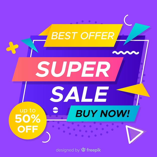 Abstract flat colorful sales background Free Vector