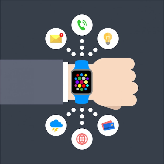 Abstract flat design vector illustration of a businessman hand with a smart watch with infographic chart icons: message, lightbulb, phone call, weather, global, credit card Premium Vector