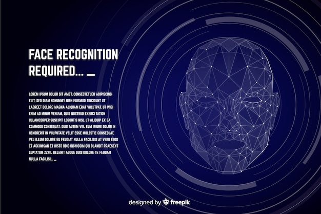 Abstract flat face recognition background Free Vector