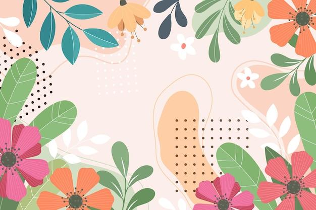 抽象的な平らな花の背景 無料ベクター