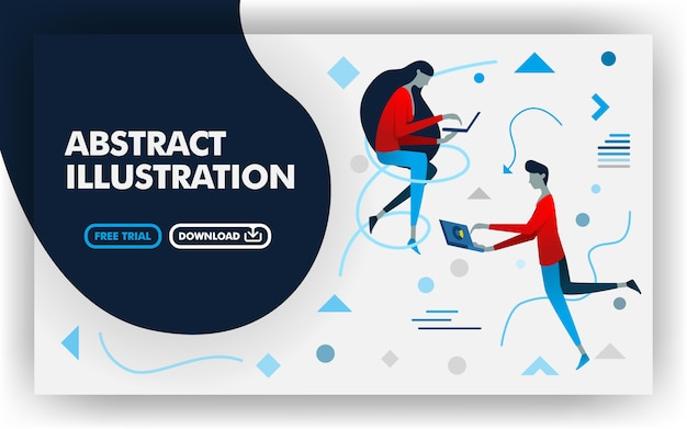 Abstract flat illustration background Premium Vector