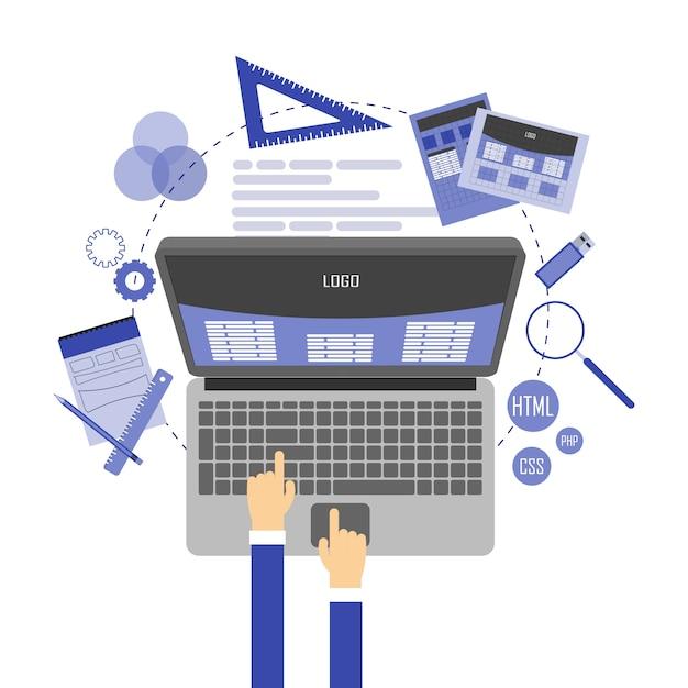 Webデザインと開発の抽象的なフラットイラスト Premiumベクター