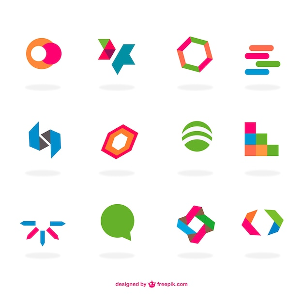 abstract flat logos set vector free download rh freepik com free vector logo templates free vector logo maker