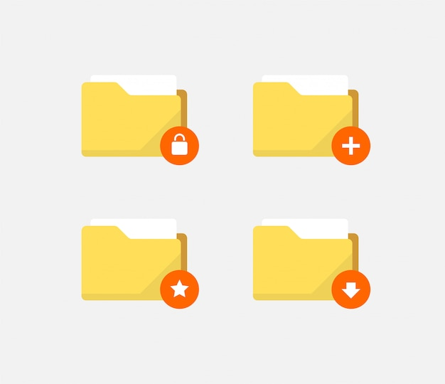 Abstract flat style folder icons Premium Vector