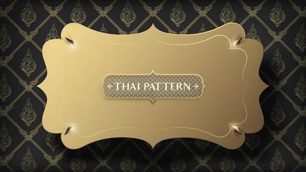 Abstract floating golden frame on traditional gold thai pattern on dark background Premium Vector
