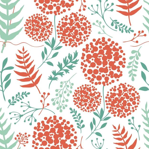 Абстрактный цветочный фон с зелеными и красными листьями папоротника Бесплатные векторы