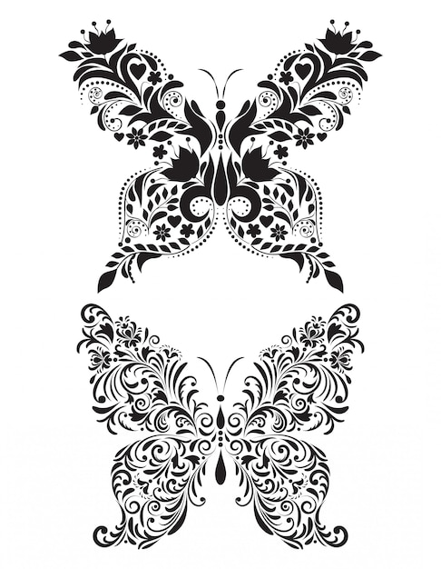 Abstract floral butterflies  on white background Premium Vector