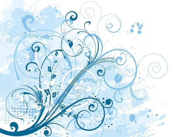 Абстрактный цветочный дизайн на гранж-фон Бесплатные векторы