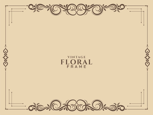 Abstract floral frame vintage background vector Free Vector