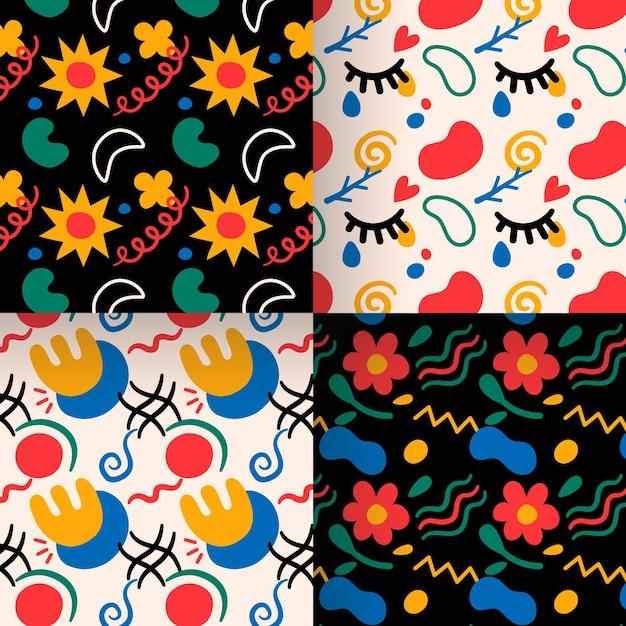 抽象的な花の手描きパターンコレクション 無料ベクター