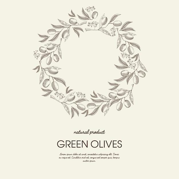 スケッチスタイルのテキストとグリーンオリーブの枝と抽象的な花のラウンドリースライトポスター 無料ベクター