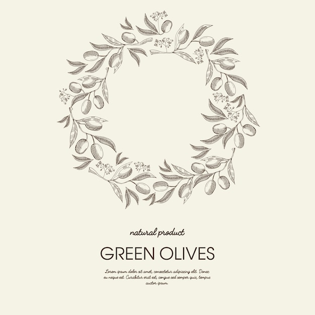 Abstract floral round wreath light poster with text and green olives branches in sketch style Free Vector