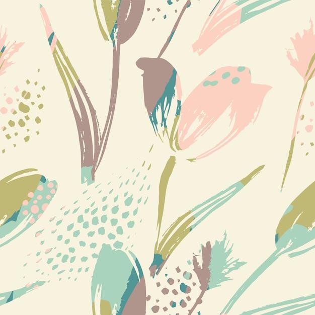 Абстрактные цветочные бесшовные тюльпаны. модные рисованной текстуры Premium векторы