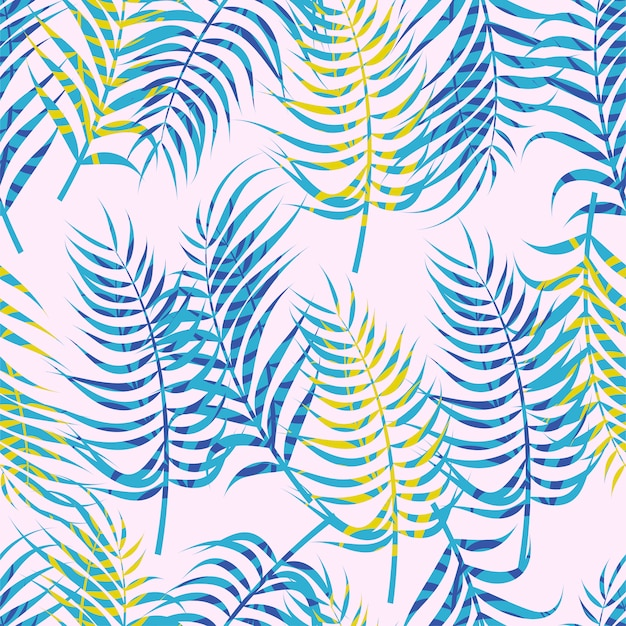 Abstract floral seamless pattern with leaves Premium Vector