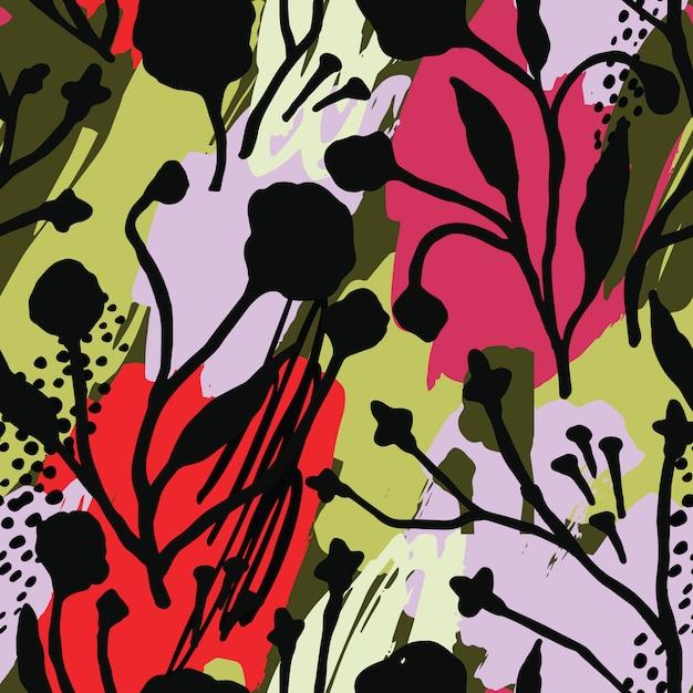 トレンディな手で抽象的な花柄シームレスパターンには、テクスチャが描かれています。 Premiumベクター