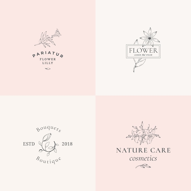 Abstract floral  signs or logo templates set. retro feminine illustration with classy typography. premium flower emblems for beauty salon, spa, wedding boutiques, care cosmetics, etc. Premium Vector