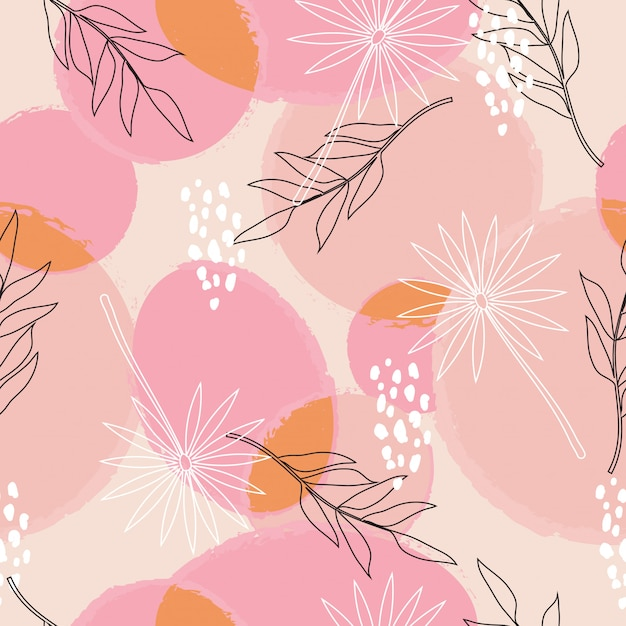 Abstract floral surface seamless pattern Premium Vector