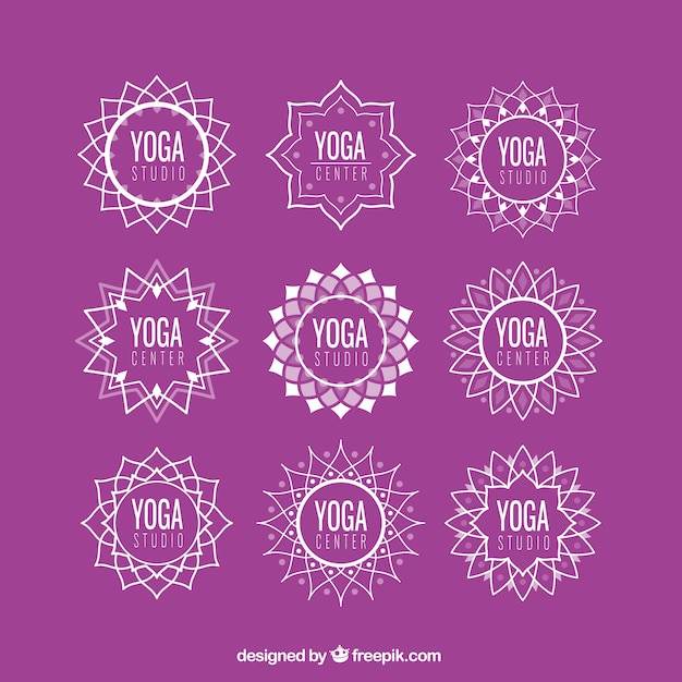 Abstract floral yoga logos set