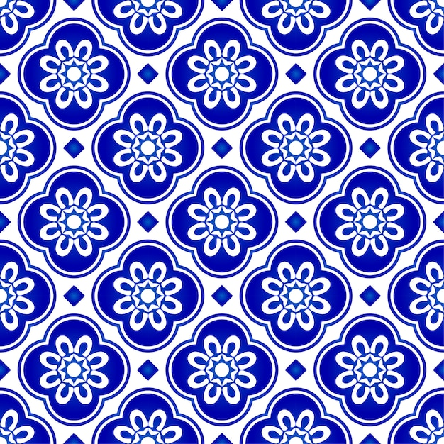 Abstract flower blue pattern, blue and white tile pattern, indigo seamless background Premium Vector