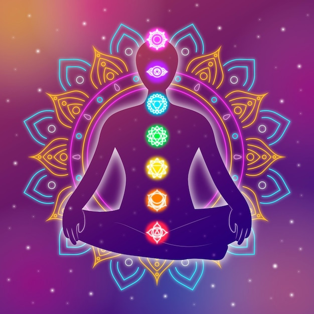 Abstract flower design body chakras concept Free Vector