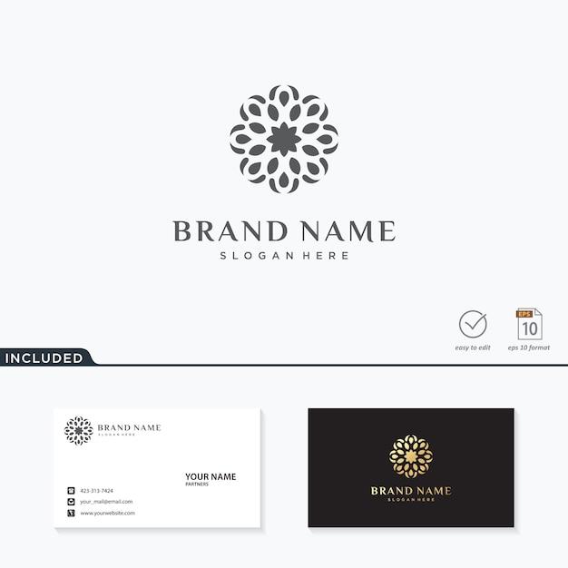 Абстрактный цветок логотип вдохновение Premium векторы