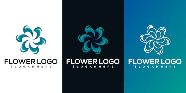 Абстрактный цветок логотип Premium векторы