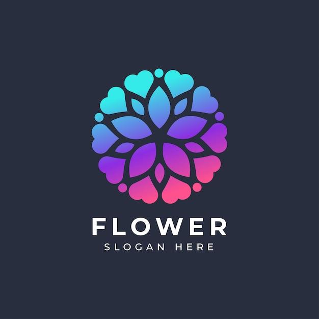 Abstract flower love logo Premium Vector