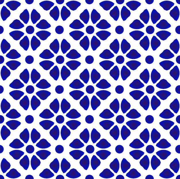 Abstract flower pattern blue and white Premium Vector