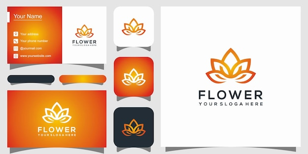 Abstract flower rose logo and business card Premium Vector